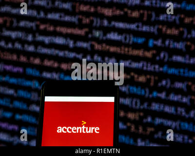 Accenture, Management consulting company logo seen displayed on