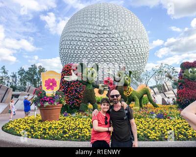APRIL 25, 2018 - ORLANDO, FLORIDA: FATHER AND SON AT EPCOT. - Stock Photo