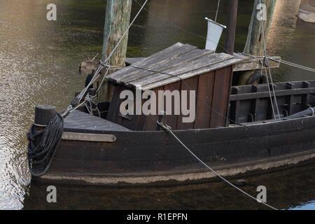 Historic harbor region Lüneburg with the ships salt Ewer and the salt Prahm, Lower Saxony Germany - Stock Photo