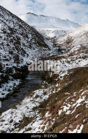 Fairbrook Clough in Winter, Kinder Scout, Peak District National Park, England, UK - Stock Photo