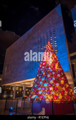 Christmas Tree in Valletta Malta made of colourful glass balls hand made. At night, Christmas greeting by night. - Stock Photo