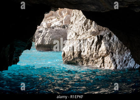 The Green Grotto (also known as The Emerald Grotto), Grotta Verde, on the coast of the island of Capri in the Bay of Naples, Italy.