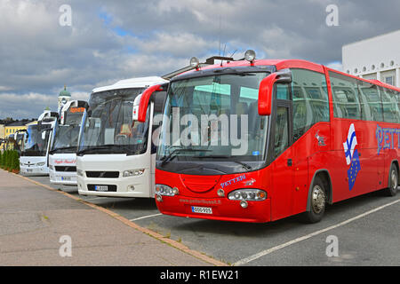 Tourist buses in South Harbour - Stock Photo