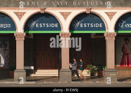 A partial view of the mid-19th century Army & Navy Building in Kala Ghoda area, Mumbai, India, now amongst other housing the Westside store - Stock Photo