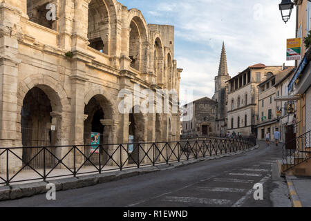 Arles, France - June 24, 2017: The Roman Amphitheater in the old town of Arles in Provence in the South of France. - Stock Photo