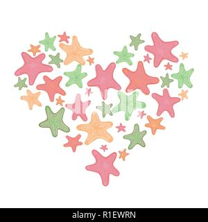 Heart with starfish. Vector illustration. Valentine day card - Stock Photo