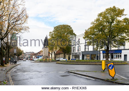 View of The Broadway, Winchester, Hampshire, England, UK - Stock Photo