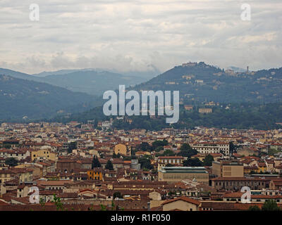 view over Florence towards Fiesole from San Miniato hill above the gate of San Niccolò, Florence,Italy - Stock Photo