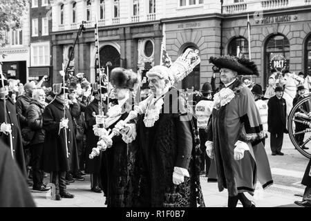 A day in the life of The Lord Mayor of London, Peter Estlin, at the Lord Mayors Show 2018, in the City of London. (Black and white, b&w) - Stock Photo