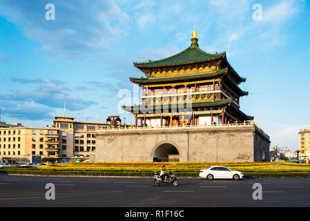 XIAN, CHINA - 25JUL2017: The Bell Tower was built in 1384 duiring the early Ming Dynasty. - Stock Photo