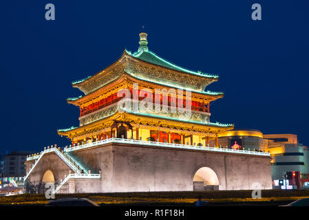 XIAN, CHINA - 25JUL2017: Night view of the Bell Tower which was built in 1384 duiring the early Ming Dynasty. - Stock Photo