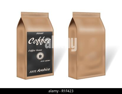 paper arabica coffee package design mock up. empty coffee template packaging in vintage style. 3d vector illustration - Stock Photo