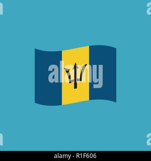 Barbados flag icon in flat design. Independence day or National day holiday concept. - Stock Photo