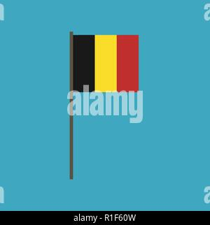 Belgium flag icon in flat design. Independence day or National day holiday concept. - Stock Photo