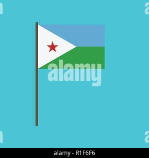 Djibouti flag icon in flat design. Independence day or National day holiday concept. - Stock Photo