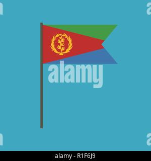 Eritrea flag icon in flat design. Independence day or National day holiday concept. - Stock Photo
