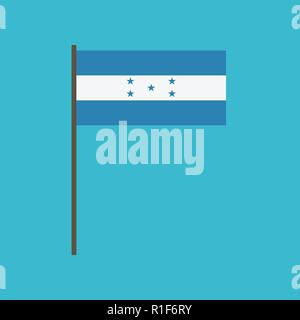 Honduras flag icon in flat design. Independence day or National day holiday concept. - Stock Photo
