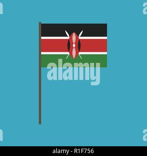 Kenya flag icon in flat design. Independence day or National day holiday concept. - Stock Photo