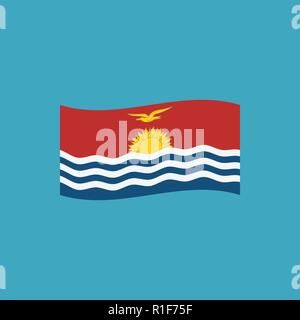 Kiribati flag icon in flat design. Independence day or National day holiday concept. - Stock Photo