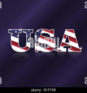 Word USA with national flag pattern and reflection - Stock Photo