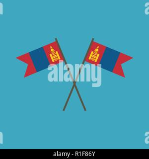 Mongolia flag icon in flat design. Independence day or National day holiday concept. - Stock Photo