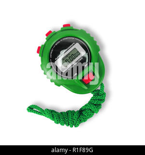 Sports equipment - Green Digital electronic Stopwatch on a white background. Isolated - Stock Photo