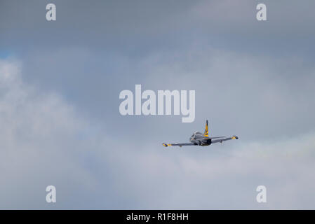 Novosibirsk, Russia - August 5, 2018: Aerobatic team Russ on aircraft L-39 Albatross performs the program at the air show. - Stock Photo