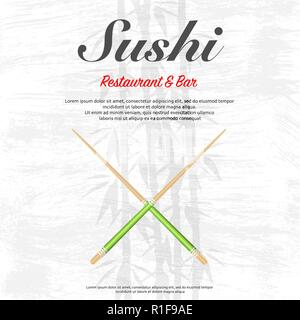 Gray grunge background with chopsticks and text - Stock Photo