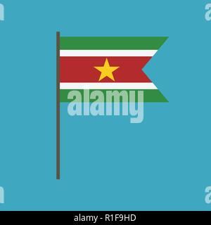 Suriname flag icon in flat design. Independence day or National day holiday concept. - Stock Photo