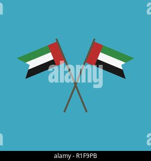 United Arab Emirates flag icon in flat design. Independence day or National day holiday concept. - Stock Photo