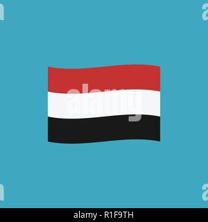 Yemen flag icon in flat design. Independence day or National day holiday concept. - Stock Photo