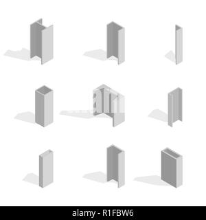 Steel beam isolated on white background. Design elements for the construction and reconstruction. Flat 3D isometric style, vector illustration. - Stock Photo