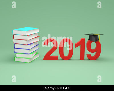 New Year 2019 with Books - 3D Rendered Image - Stock Photo