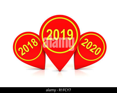 New Year 2019 Creative Design Concept - 3D Rendered Image - Stock Photo