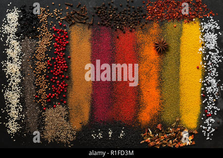 Background with a variety of colored spices. Collection of colorful seasonings - Stock Photo