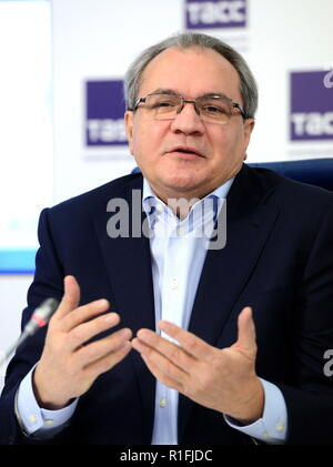 Moscow, Russia. 12th Nov, 2018. MOSCOW, RUSSIA - NOVEMBER 12, 2018: The Secretary of the Civic Chamber of the Russian Federation, Valery Fadeyev, at a press conference at the Moscow office of the TASS news agency about the final round of a national public vote which is part of the Velikiye Imena Rossii project to rename 47 major airports after distinghuished Russian academics, statesmen and creative professionals. Nikolai Galkin/TASS Credit: ITAR-TASS News Agency/Alamy Live News - Stock Photo