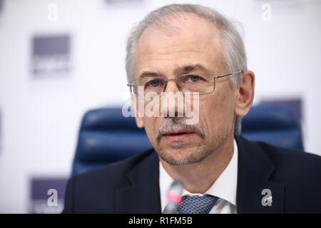 Moscow, Russia. 12th Nov, 2018. MOSCOW, RUSSIA - NOVEMBER 12, 2018: Vladislav Korochkin, First Vice President of the all-Russian non-government organisation of small and medium business, Opora Russia (Opora Rossii), at a press conference at the Moscow office of the TASS news agency announcing the upcoming Global Entrepreneurship Week Russia. Valery Sharifulin/TASS Credit: ITAR-TASS News Agency/Alamy Live News - Stock Photo