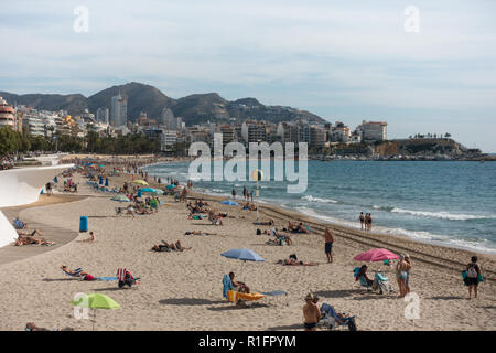 Benidorm, Costa Blanca, Spain 12th November 2018. Snow bird holiday makers enjoy the winter sun in Spain with daytime temperatures in the mid 20's Celsius bringing large crowds onto the beach where they can take part in organised exercise classes or just relax and sunbathe. Credit: Mick Flynn/Alamy Live News - Stock Photo