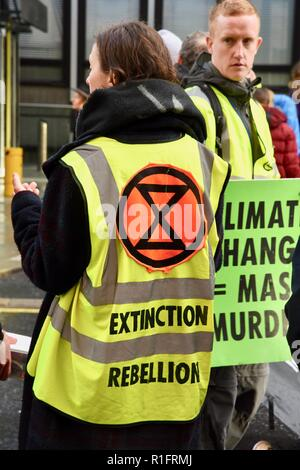 London, UK. 12th November, 2018. Hign-visbility vests get the message across,Climate Change Protest organised by Extinction Rebellion,A day of civil disobedience is planned for this Saturday,Victoria Street,London.UK Credit: michael melia/Alamy Live News - Stock Photo