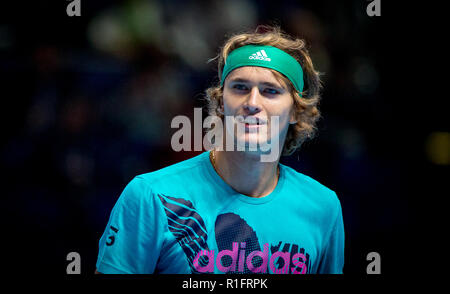 London, UK. 12th November, 2018. Alexander Zverev (Germany) practice session during the Nitto ATP World Finals London at the O2, London, England on 12 November 2018. Photo by Andy Rowland. Credit: Andrew Rowland/Alamy Live News - Stock Photo