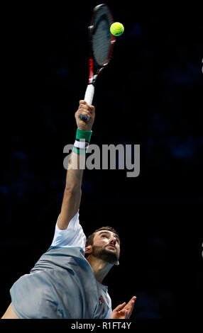 London, UK. 12th November, 2018. O2 Arena, London, England; Nitto ATP Tennis Finals; Marin Cilic (CRO) serves to Alexander Zverev (GER) Credit: Action Plus Sports Images/Alamy Live News - Stock Photo