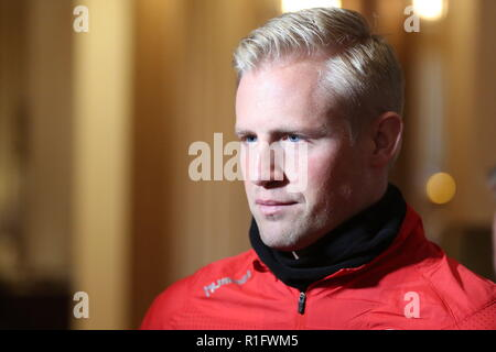 Newport, Wales, UK. 12th November, 2018. Kasper Peter Schmeichel is a Danish professional footballer who plays as a goalkeeper for Premier League club Leicester City and the Denmark national team. Pre-match interview at the Celtic Manor Resort near Newport ahead of Nations League match Wales v Denmark at the Cardiff City Stadium. Credit: www.garethjohn.uk/Alamy Live News - Stock Photo