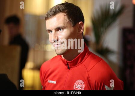 Newport, Wales, UK. 12th November, 2018. Andreas Bjelland is a Danish professional football centre back who plays for FC Copenhagen. Pre-match interview at the Celtic Manor Resort near Newport ahead of Nations League match Wales v Denmark at the Cardiff City Stadium. Credit: www.garethjohn.uk/Alamy Live News - Stock Photo