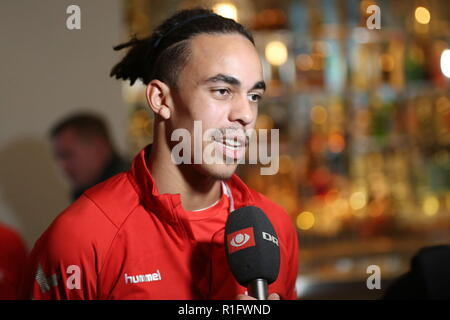 Newport, Wales, UK. 12th November, 2018. Yussuf Yurary Poulsen is a Danish professional footballer who plays for German club RB Leipzig as a striker or winger. Pre-match interview at the Celtic Manor Resort near Newport ahead of Nations League match Wales v Denmark at the Cardiff City Stadium. Credit: www.garethjohn.uk/Alamy Live News - Stock Photo