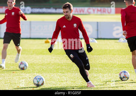 Cardiff, Wales, UK. 12th November, 2018. Wales midfielder Aaron Ramsery trains at the Vale Resort ahead of their upcoming international matches against Denmark & Albania.  Lewis Mitchell/YCPD. Credit: Lewis Mitchell/Alamy Live News - Stock Photo