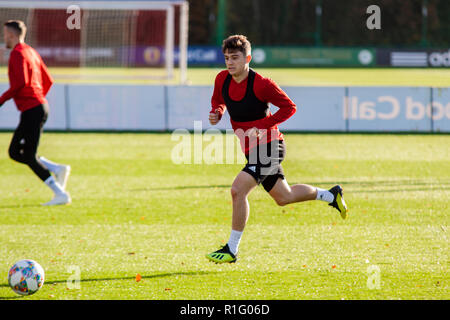 Cardiff, Wales, UK. 12th November, 2018. Wales winger Daniel James  trains at the Vale Resort ahead of their upcoming international matches against Denmark & Albania.  Lewis Mitchell/YCPD. - Stock Photo
