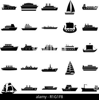 Boat icons set. Simple illustration of 25 boat vector icons for web - Stock Photo