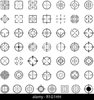 Aim target icons set. Simple illustration of 50 aim target vector icons for web - Stock Photo