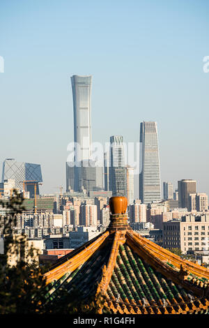 Scene of CBD, view from Jingshan park where north side of Forbidden City - Stock Photo