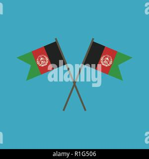 Afghanistan flag icon in flat design. Independence day or National day holiday concept. - Stock Photo